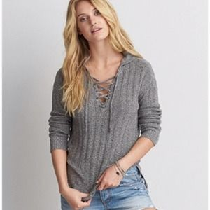 AEO   Grey Hooded Lace Up Ribbed Knit Sweater, XS
